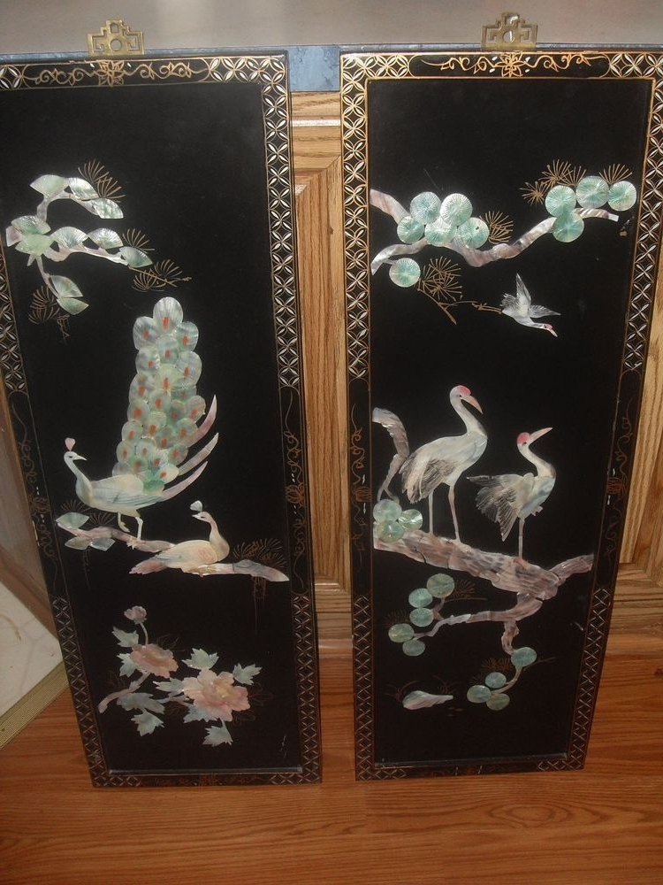 Vintage Chinese Carved Shell Mother Of Pearl Wall Art Black Lacquer Regarding Favorite Mother Of Pearl Wall Art (View 14 of 15)