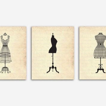 Vintage French Mannequin Silhouettes From Susan Newberry Amazing Within Newest Mannequin Wall Art (Gallery 8 of 15)