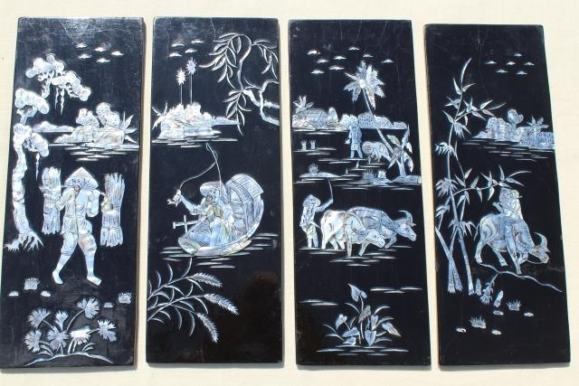 Vintage Lacquer Ware Wall Art Panels, Glossy Black Wood W/ Mother Of for Well-liked Mother Of Pearl Wall Art