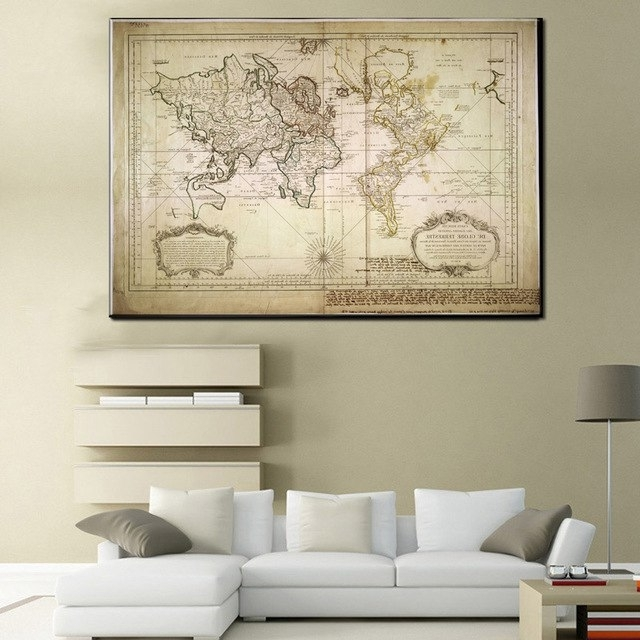 Vintage Style Wall Art With Regard To 2018 Xll212 Vintage Style Retro World Map Poster Home Decoration Wall Art (View 13 of 15)