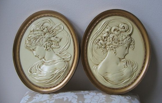 Vintage Turner Greek Goddess Cameo Pair Faux Plaster Wall Art East With Regard To Most Recently Released Cameo Wall Art (Gallery 1 of 15)