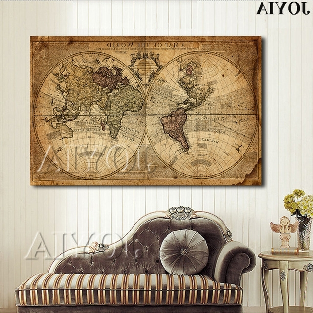 Vintage World Map Canvas Art Print Large Painting Calligraphy Retro Within Most Up To Date Framed World Map Wall Art (View 14 of 15)