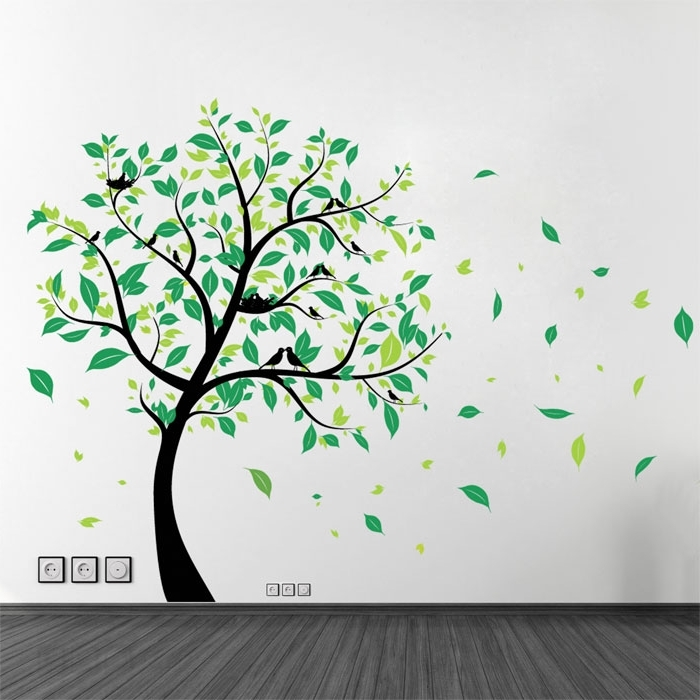 Vinyl Wall Art Tree Regarding Recent Large Tree With Birds Vinyl Wall Art Decal (View 3 of 15)