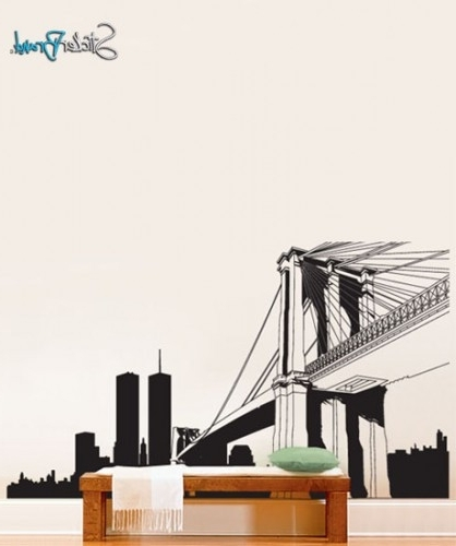 Vinyl Wall Decal Sticker Nyc Brooklyn Bridge New York Custom Size Within Well Known Brooklyn Bridge Wall Decals (View 5 of 15)