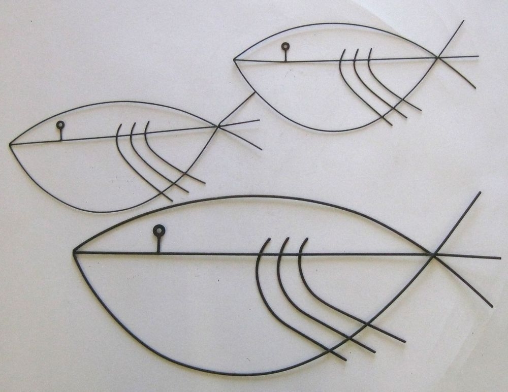 Vtg Mid Century Modernist Abstract Metal Fish Wall Art Sculpture within Most Up-to-Date Abstract Metal Fish Wall Art