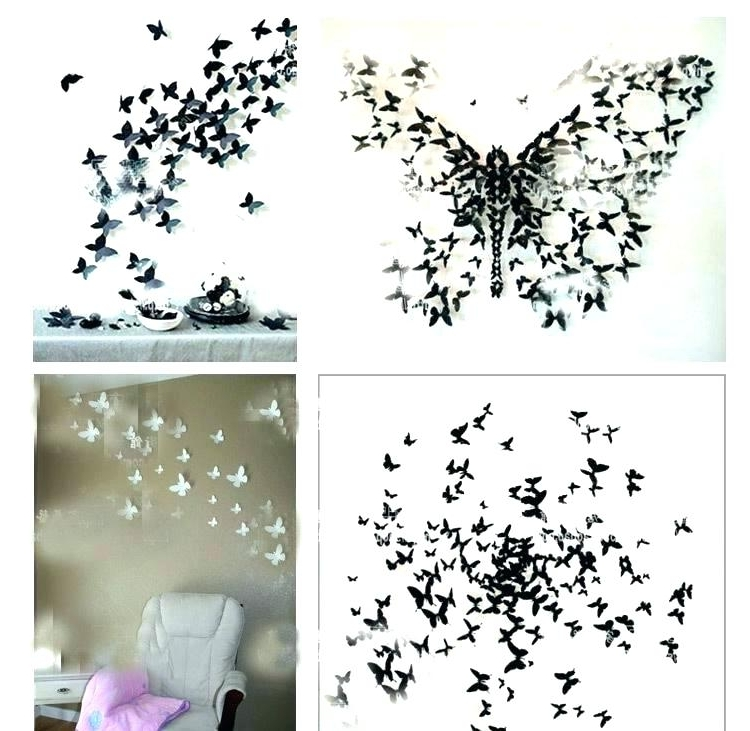Wall Art Butterfly Large Metal Butterfly Wall Art Diy 3D Wall Art Throughout Most Recently Released Diy 3D Wall Art Butterflies (View 3 of 15)