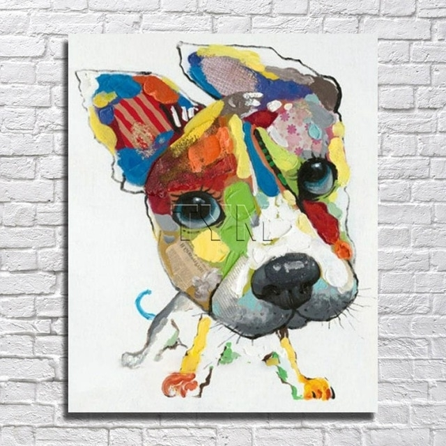 Wall Art Canvas Abstract Dog Painting Home Decor Living Room Decor Intended For Newest Abstract Dog Wall Art (View 15 of 15)