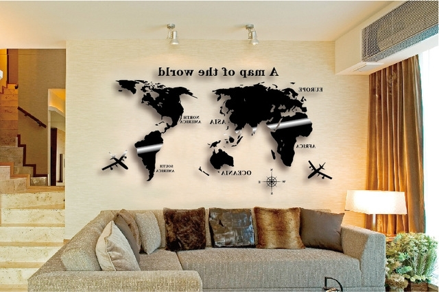 Wall Art Decal World Map Wall Sticker Globe Earth Wall Decor For For Popular World Wall Art (View 2 of 15)