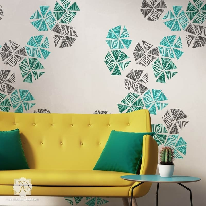 Wall Art Designs: Captivating Stencils Wall Art Enlivening Your Inside Widely Used Space Stencils For Walls (View 13 of 15)