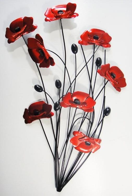 Wall Art Designs, Poppy Wall Art Metal Wall Art Poppy Flower Bunch For Trendy Metal Poppy Wall Art (View 2 of 15)