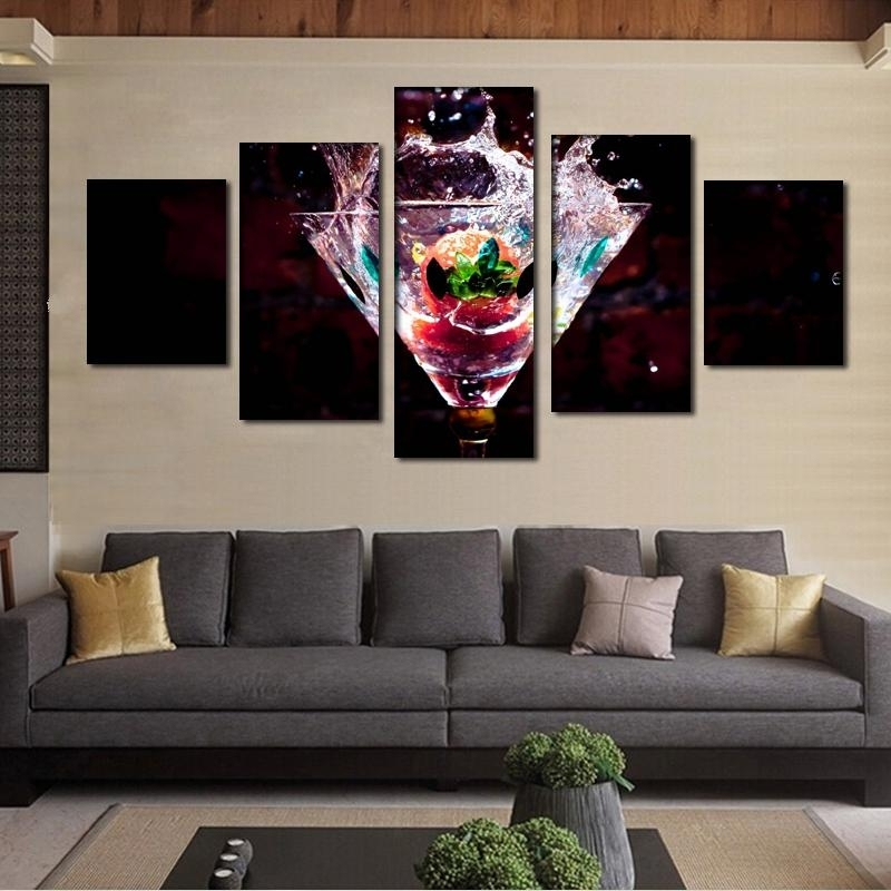 Wall Art For Bar Area For Current 2018 Kitchen Dinning Bar Decor 5 Panel Fruits Painting Modern Canvas (View 12 of 15)