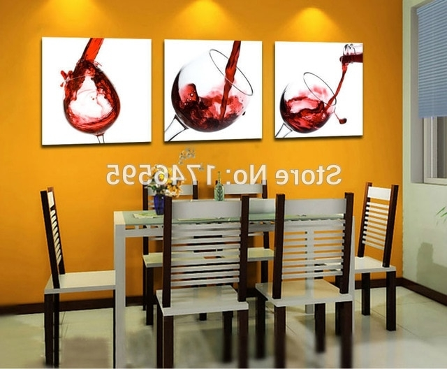 Wall Art For Bar Area Inside Well Liked Big 3Pcs Modern Home Decor Red Wine Glass Wall Art Picture Dining (View 3 of 15)