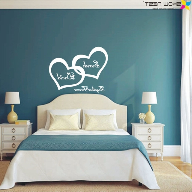 Wall Art For Bedrooms For Famous Symbol Of Love Forever Wall Sticker Double Heart Custom Couple Name (View 13 of 15)