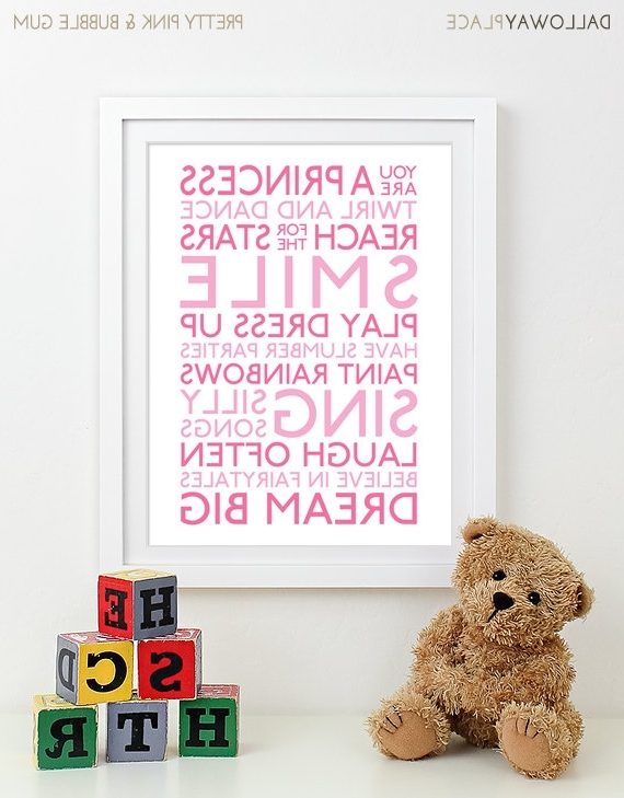 Wall Art For Girls In Latest Baby Girl Nursery Art Print Nursery Decor Kids Wall Art Children (View 8 of 15)
