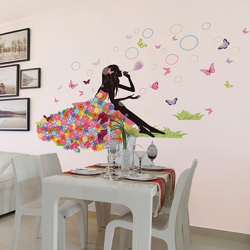 Wall Art For Girls With Regard To Latest Flower Fairy On Grassland Wall Decal Sticker Colorful Dress Girl (View 7 of 15)