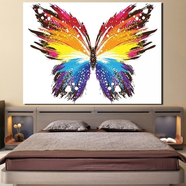 Wall Art Home Decor Canvas Posters 1 Piece Colourful Abstract With Best And Newest Abstract Butterfly Wall Art (View 13 of 15)