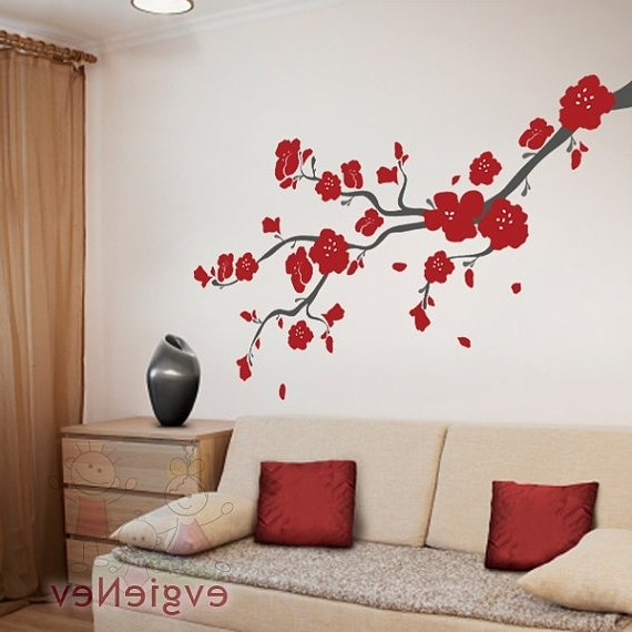 Wall Art Ideas Design : Red Cherry Blossom Wall Art Tree Branches With 2017 Red Cherry Blossom Wall Art (View 12 of 15)