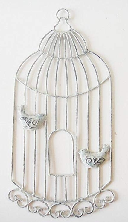 Wall Art – Metal Wall Art – Shabby Chic Birdcage With Birds: Amazon Throughout Most Recently Released Metal Birdcage Wall Art (View 11 of 15)