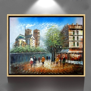 Wall Art Paris Street Scene Oil Painting On Canvas Home Decor Zq 50 In Most Recently Released Street Scene Wall Art (View 7 of 15)