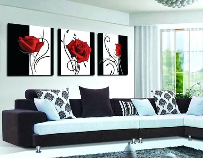 Wall Art Sets For Living Room With Regard To Well Known Wall Art Sets For Living Room Buy 3 Panel Red Rose Home Decorative (View 8 of 15)