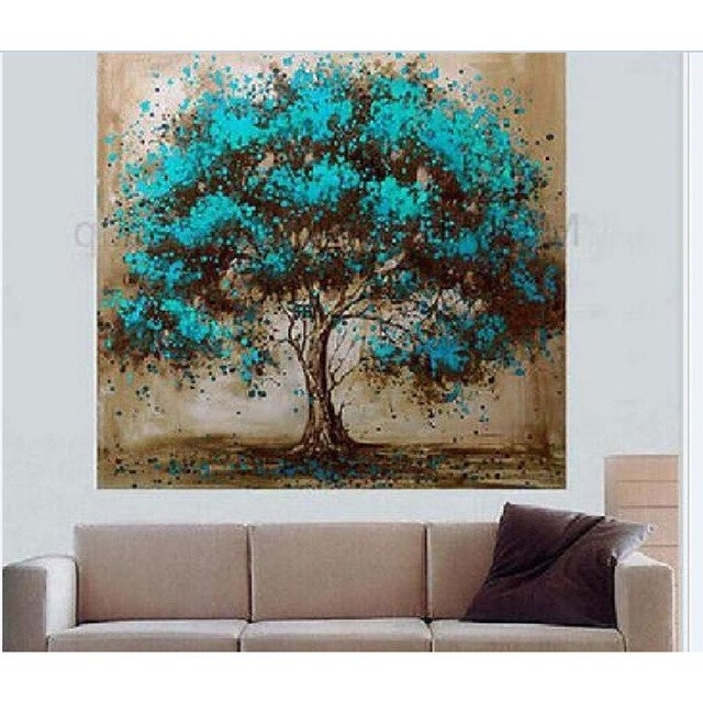 Wall Art Sets For Living Room Within Most Up To Date Handmade Modern Abstract Green Tree Landscape Oil Painting On Canvas (View 15 of 15)