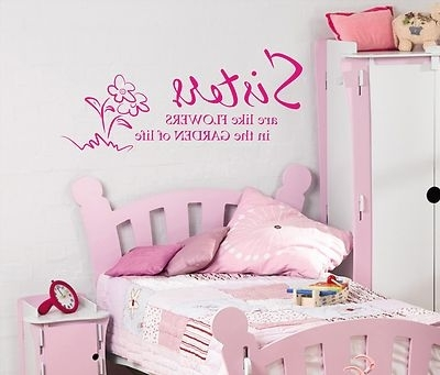 Wall Art Stickers For Childrens Rooms Regarding 2017 Sisters Are Like Flowers Wall Art Sticker Quote Childrens Girls (View 13 of 15)