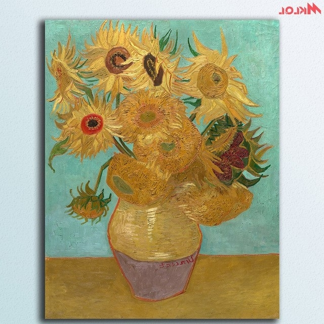 Wall Art Sunflowers 4Vincent Van Gogh Canvas Painting For Living Inside Most Popular Vincent Van Gogh Wall Art (View 11 of 15)