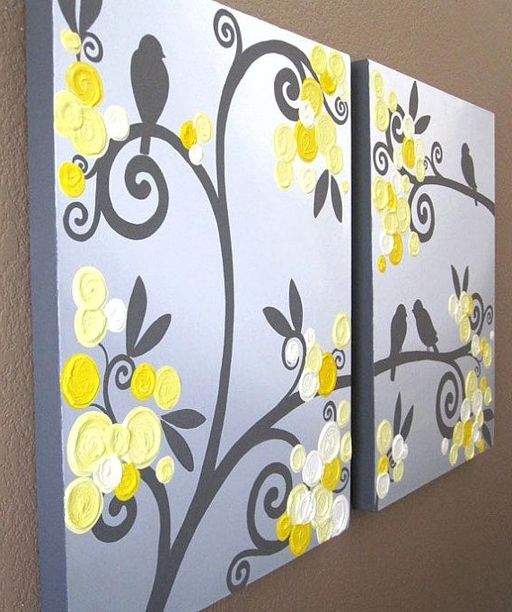 Wall Art Yellow Grey Flowers And Birds Textured Acrylic Yellow And Pertaining To Most Popular Yellow Grey Wall Art (View 13 of 15)