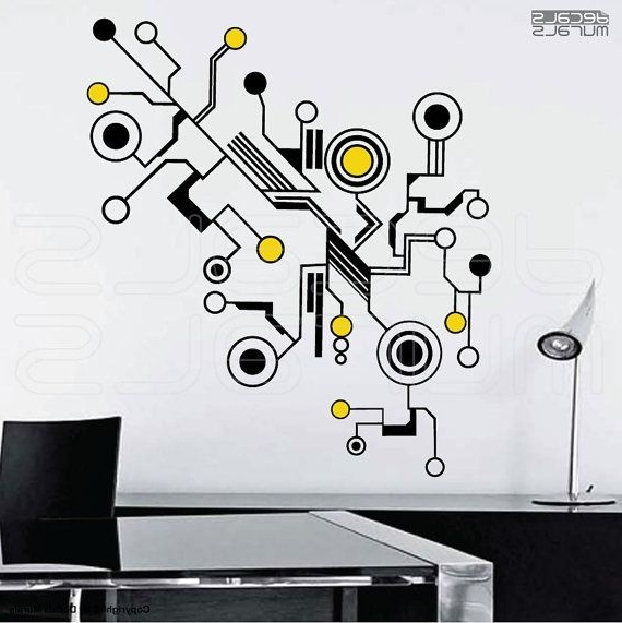 Wall Decals Large Tech Shapes Abstract Circuit Shaped Vinyl Art Inside Trendy Abstract Art Wall Decal (View 3 of 15)