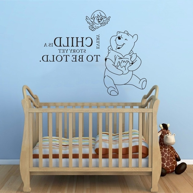 Wall Decals Quotes Winnie The Pooh Quote Vinyl Sticker Nursery Room Pertaining To Recent Winnie The Pooh Nursery Quotes Wall Art (View 11 of 15)