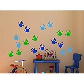Wall Decor Plus More Wdpm3566 Handprint Vinyl Wall Decals Sticker Within Best And Newest Preschool Wall Decoration (View 12 of 15)