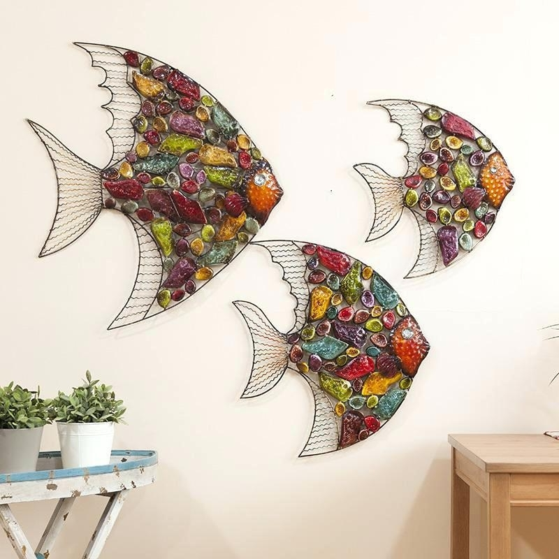 Wall Sculpture Decor Creative Home Decor Abstract Fish Wall For Well Liked Abstract Fish Wall Art (View 15 of 15)