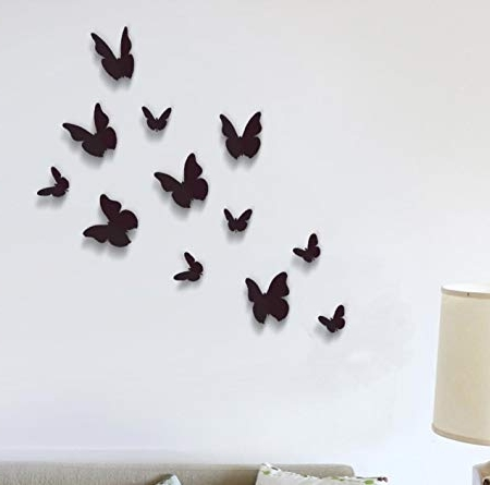 Wall Stickers Black 3D Butterfly Wall Art Murals Removable Self Throughout Newest 3D Removable Butterfly Wall Art Stickers (View 14 of 15)