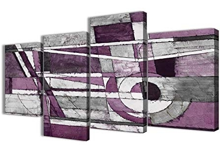 Wallfillers Large Aubergine Grey White Painting Abstract Bedroom Regarding Most Up To Date Aubergine Wall Art (View 10 of 15)