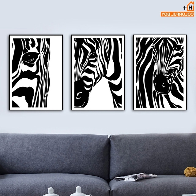 Watercolor Zebra Wall Art Canvas Painting Nordic Posters And Prints Intended For Well Liked Zebra Wall Art Canvas (View 9 of 15)
