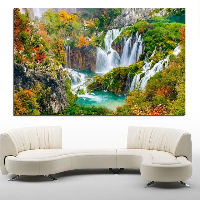 Waterfall Wall Art In Most Up To Date Jqhyart Printing Oil Painting Wall Painting Featured Waterfall Wall (View 9 of 15)