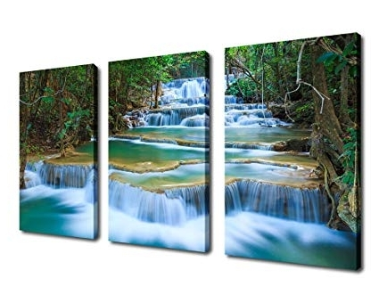 Waterfall Wall Art Inside Most Recent Amazon: Waterfall Canvas Wall Art Blue Stream River In Green (View 3 of 15)