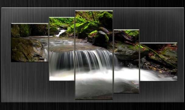 Waterfall Wall Art Pertaining To Well Liked Extra Large Canvas Pictures Waterfall Wall Art Split Multi Panel  (View 4 of 15)