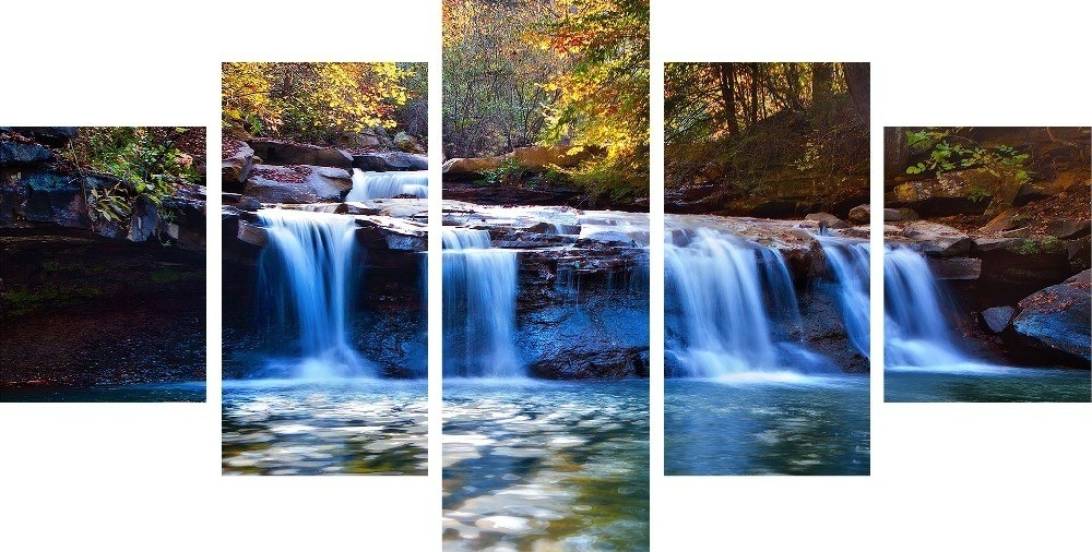 Waterfall Wall Art With Regard To Most Recently Released 5Pieces/set Forest Waterfall Wall Art For Wall Decor Home Decoration (View 12 of 15)