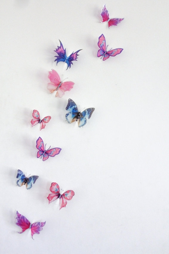 Well Known 10 X 3D Butterfly Wall Decals, Wall Art, Butterfly Wall Decor With Butterflies 3D Wall Art (View 14 of 15)