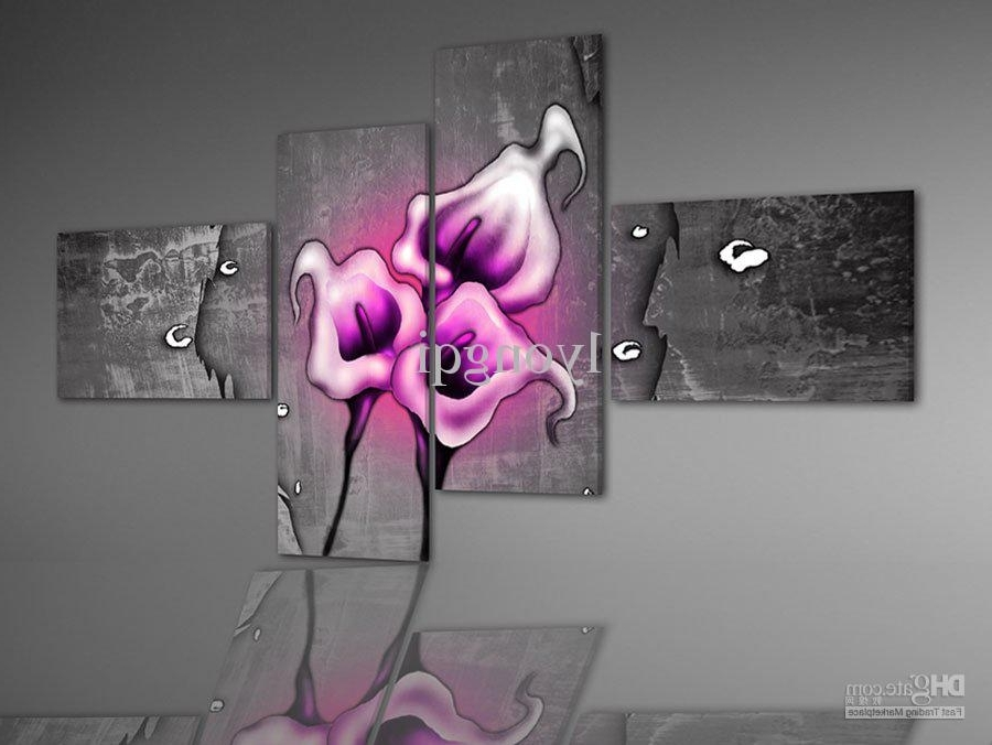 Well Known 2018 Hand Painted Hi Q Modern Wall Art Home Decorative Pink Calla With Regard To Pink And Grey Wall Art (View 14 of 15)