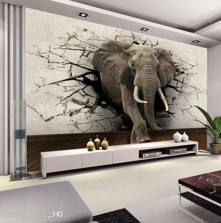 Well Known 3D Wall Art Wallpaper Regarding Custom 3D Elephant Wall Mural Personalized Giant Photo Wallpaper (View 14 of 15)