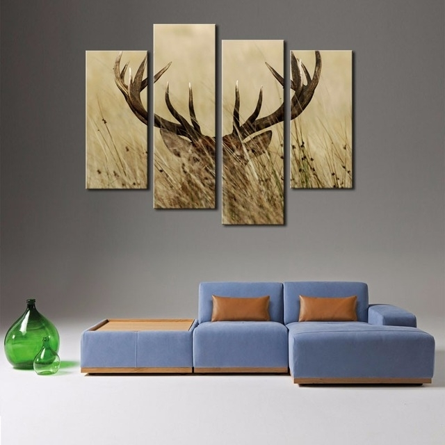 Well Known 4 Panel Wall Art Deer Stag With Long Antler In The Grass Painting In Stag Wall Art (View 13 of 15)