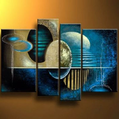 Well Known 4 Pieces Hand Painted Neon World Modern Canvas Art Wall Decor With Abstract Neon Wall Art (View 5 of 15)