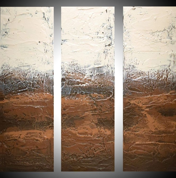 "Well Known 48X48 Canvas Wall Art Inside Triptych 3 Panel Wall Art Red Textured ""earth To (View 10 of 15)"