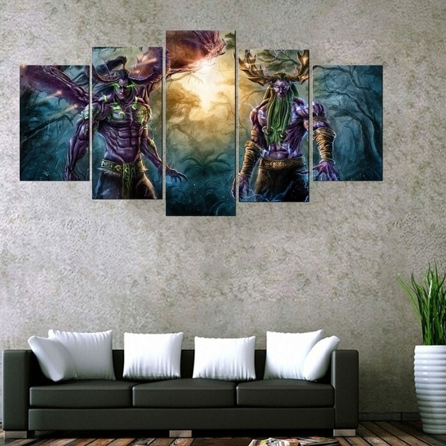 Well Known 5 Panel World Of Warcraft Game Poster Wall Art Picture Home For World Wall Art (View 13 of 15)