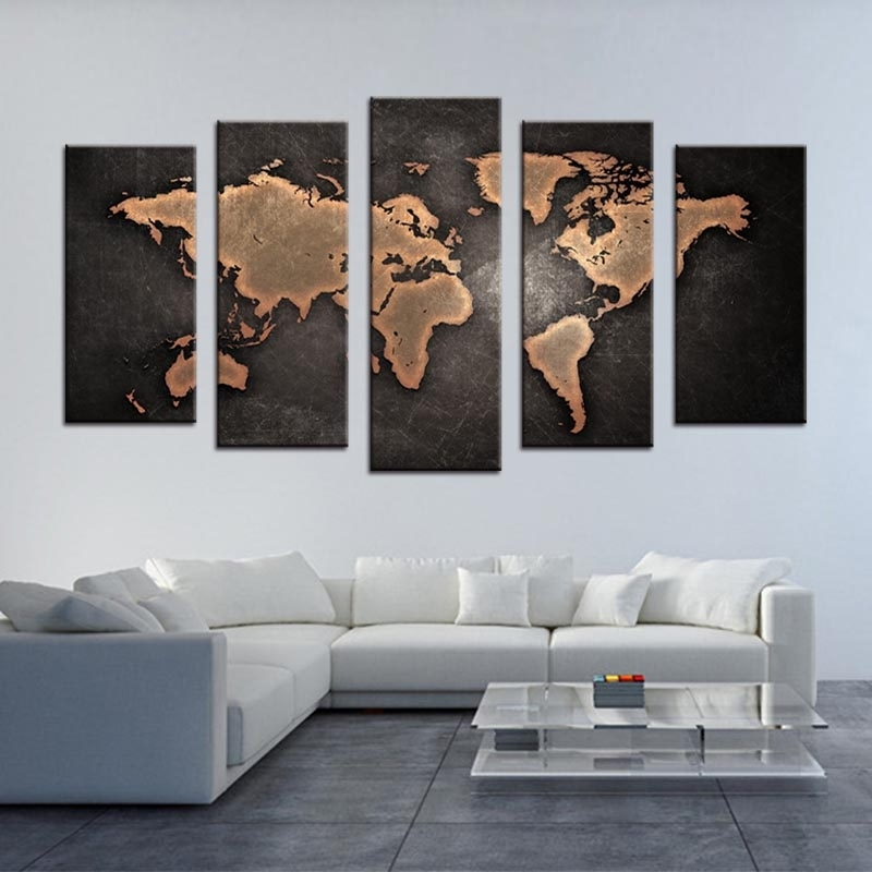 Well Known 5 Pcs/set Framed Abstract Black World Map Wall Art Modern Global With Regard To Abstract World Map Wall Art (View 5 of 15)