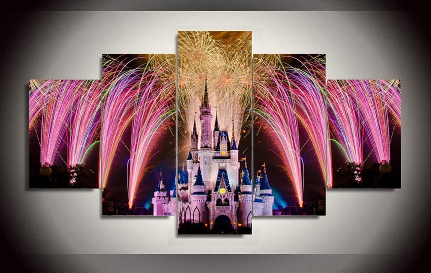 Well Known 5 Pieces Canvas Print Castle In Fireworks Painting On Canvas Canvas Pertaining To Disney Canvas Wall Art (View 12 of 15)