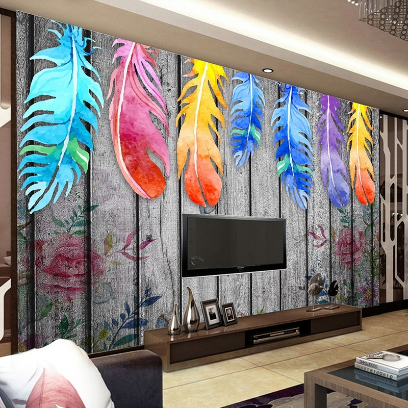 Well Known Abstract Art Wall Murals With Regard To Custom Any Size 3D Wall Murals Wallpaper Modern Hand Painted Wood (View 6 of 15)