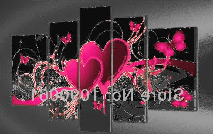 Well Known Abstract Heart Wall Art Within Hand Painted Abstract Heart Paintings Butterfly Decoration Modern  (View 2 of 15)